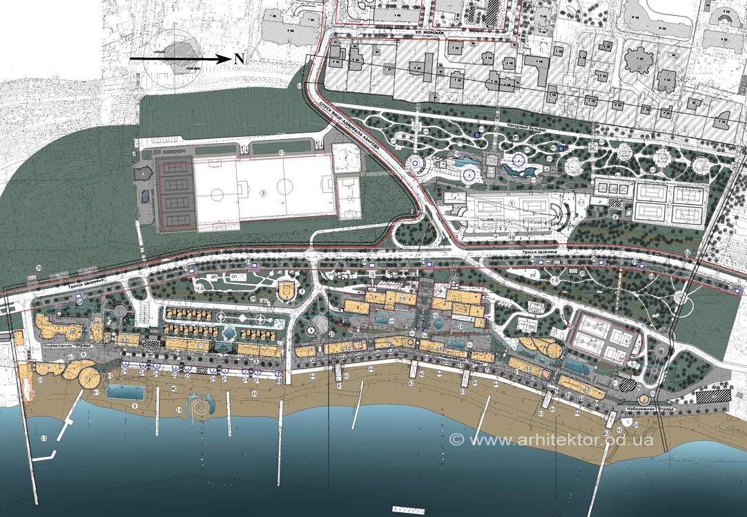 Генеральный план г. Одесса - пляж Отрада