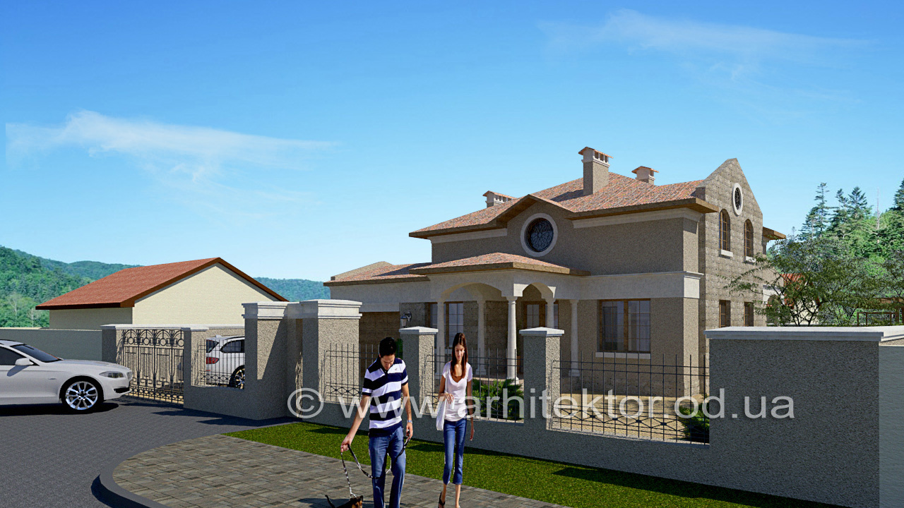 Фасад дома в средиземноморском стиле