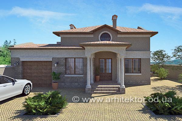 Дом в средиземноморском стиле с мансардой Черноморск - Описание