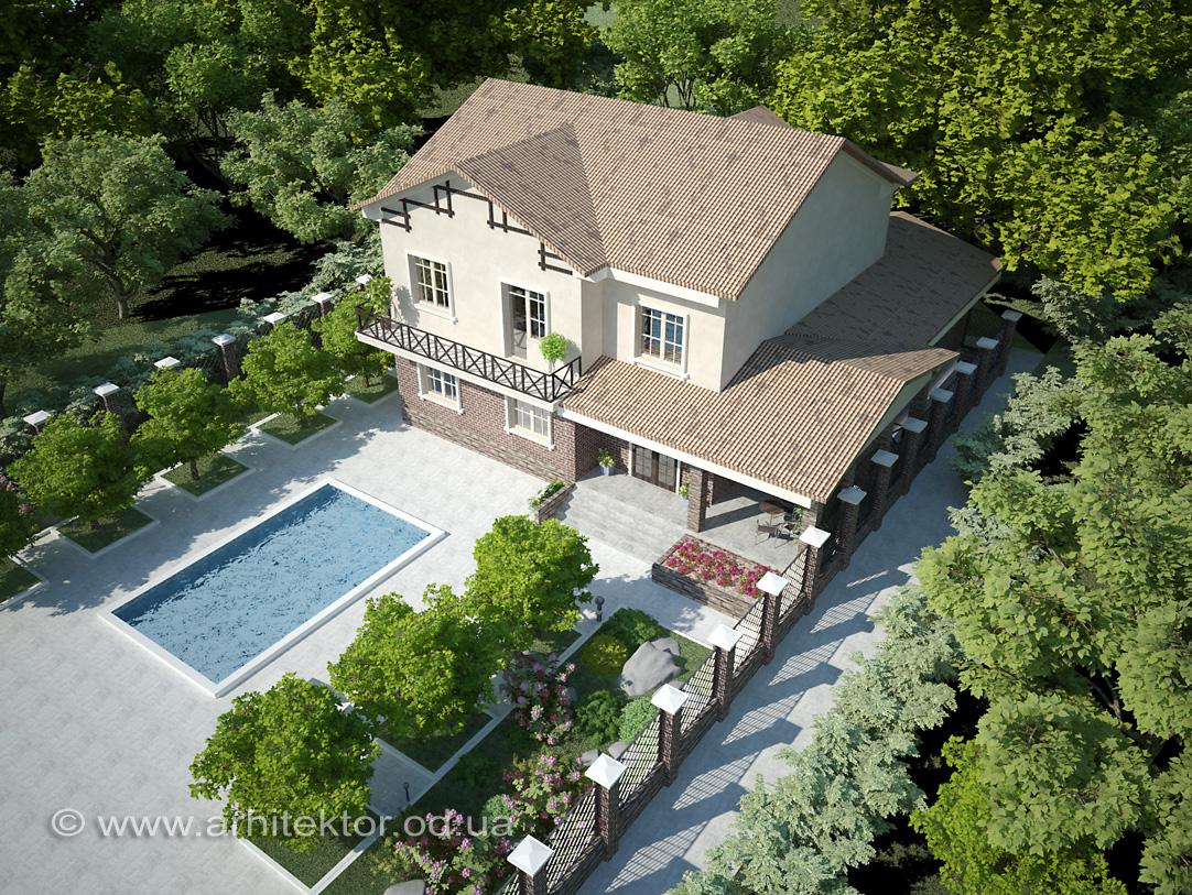 Проект двухэтажного жилого дома в пгт Авангард, Одесской области