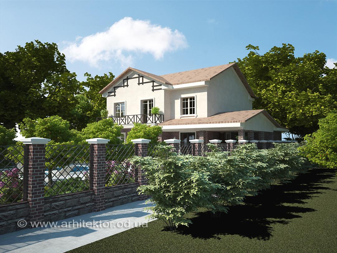 Проект двухэтажного жилого дома с цокольным этажом, и встроенным одноэтажным гаражом в пгт Авангард