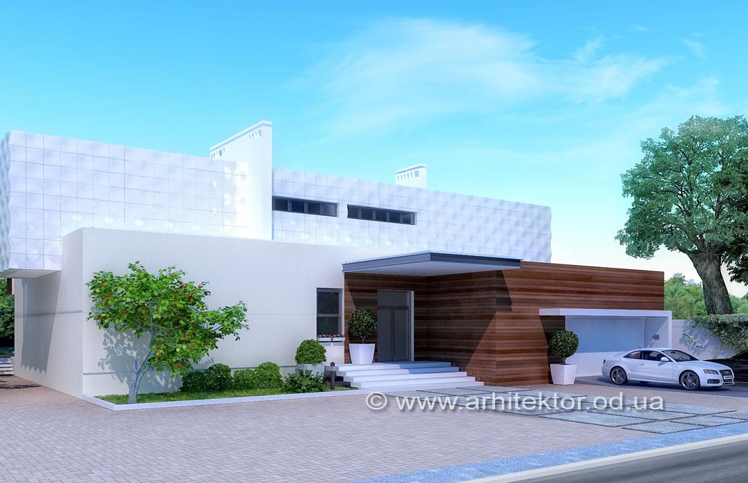 Эскизный проект двухэтажного дома в коттеджном поселке «Сосновый берег»