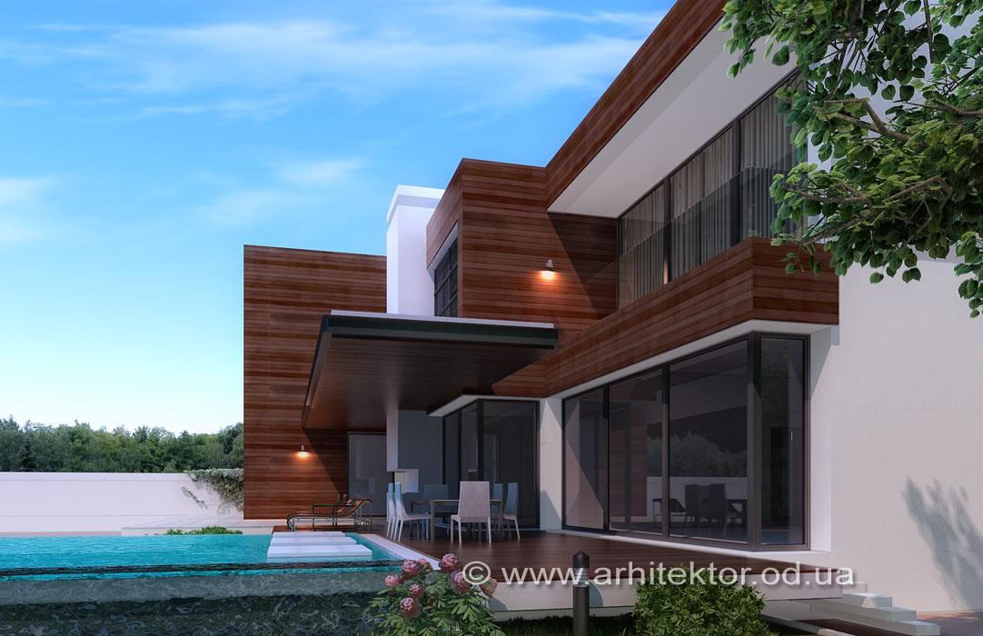 Двухэтажный дом с цокольным этажом, и встроенным одноэтажным гаражом «Сосновый берег»