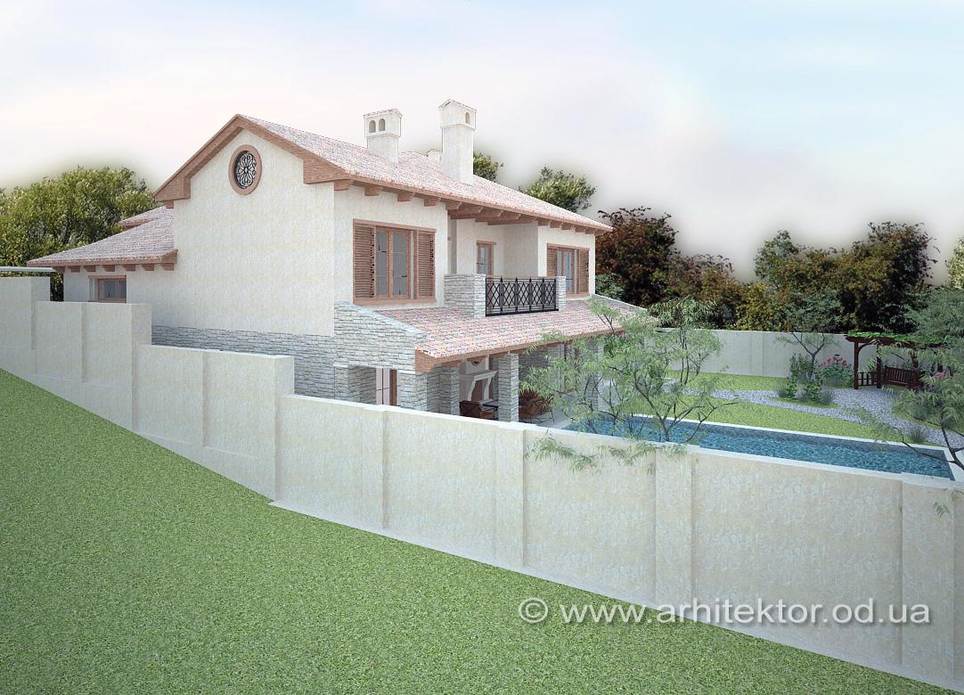 Проект дома в тосканском стиле на рельефном участке