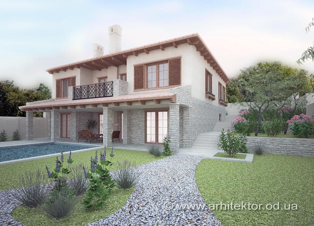Архитектурный проект дома в тосканском стиле