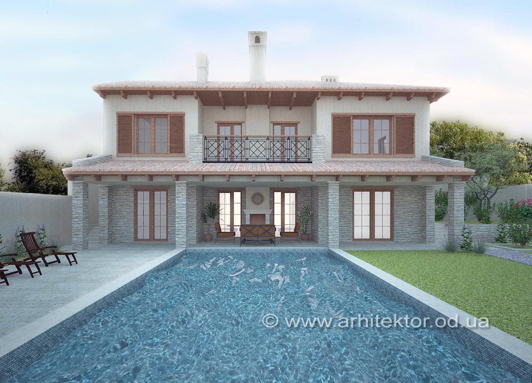 Эскизный проект дома в тосканском стиле