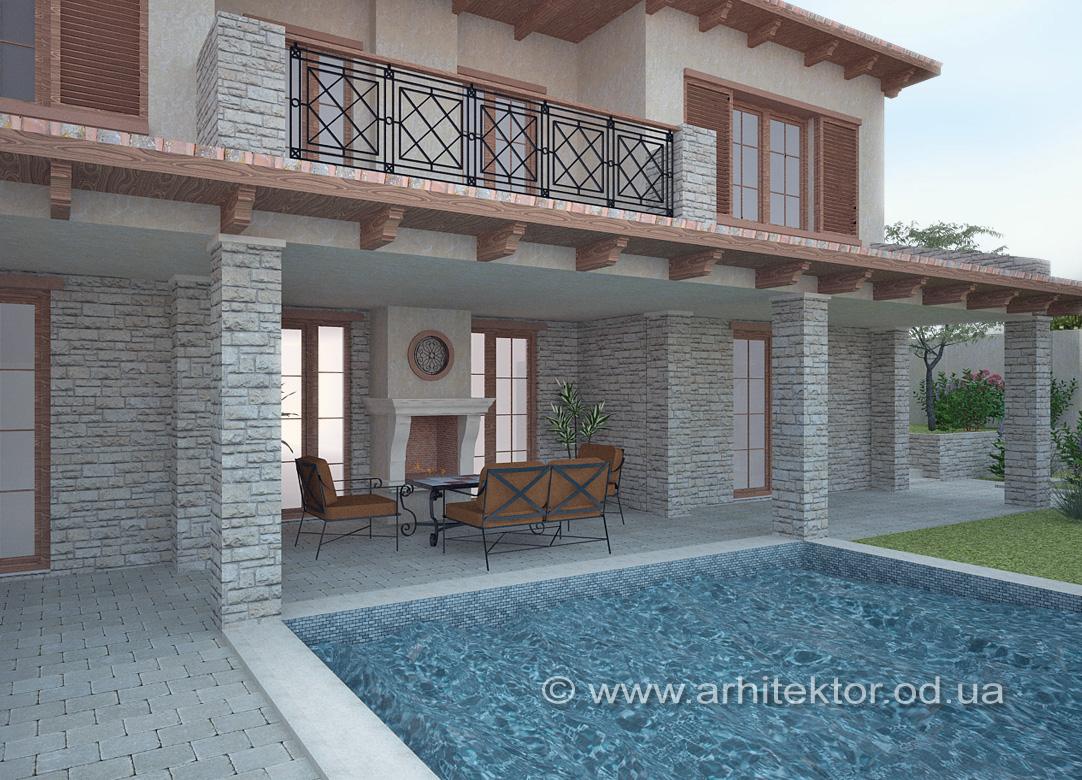 Рабочий проект дома в тосканском стиле