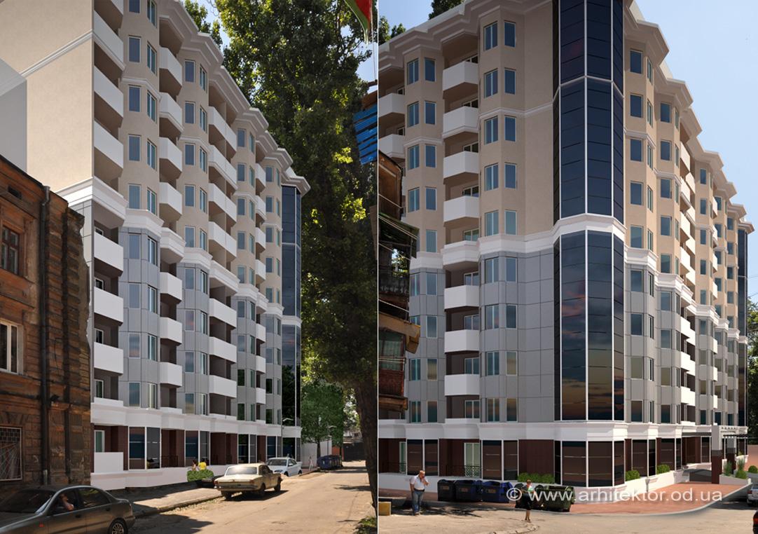 Архитектурный проект жилого комплекса в пер. Елисаветградский, г. Одесса