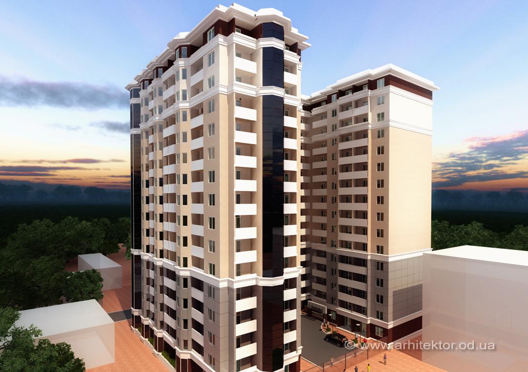 Проект жилого комплекса из двух 16-этажных секций Одесса