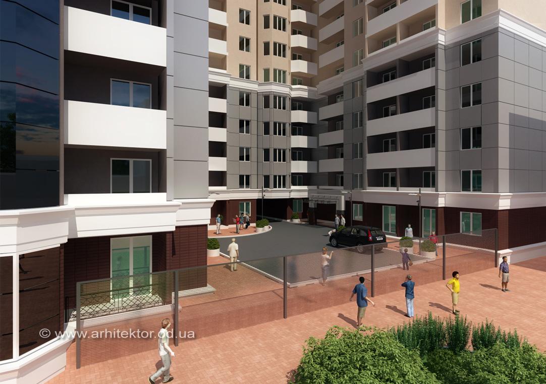Эскизный проект жилого комплекса в пер. Елисаветградский г. Одесса